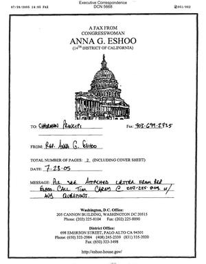 Primary view of object titled 'Executive Correspondence – Letter dated 07/28/2005 to Chairman Principi from Anna Eshoo'.