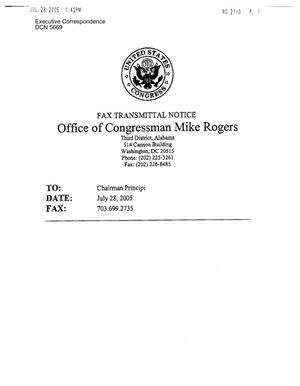 Primary view of object titled 'Executive Correspondence – Letter dated 07/26/2005 to Chairman Principi from Representatives Mike Rogers, Bill Shuster, Don Sherwood, Sanford Bishop, Paul Kanjorski, and Spencer Bachus'.