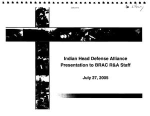 Primary view of object titled 'Indian Head Defens Alliance Presentaton'.