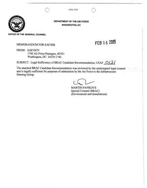 Primary view of object titled 'General Counsel Legal Sufficiency Letter  USAF 0121'.