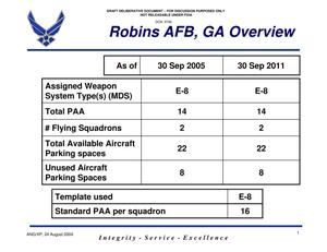 Primary view of object titled 'Robins ANG Capacity Overview 23 Aug 04 USAF 0120 433'.