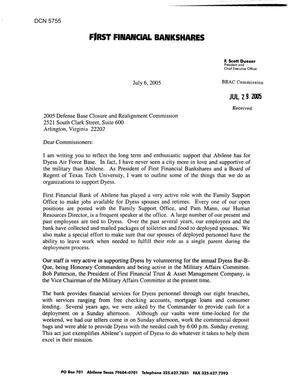 Primary view of object titled 'Coalition Correspondence – Letter dated 07/06/2005 to all Commissioners from Scott Dueser'.