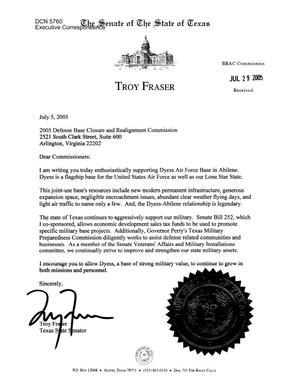 Primary view of object titled 'Executive Correspondence – Letter dated 07/05/2005 to all Commissioners from Troy Fraser'.