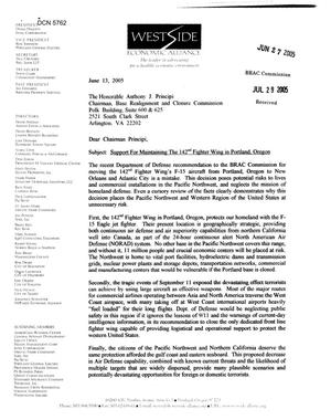 Primary view of object titled 'Coalition Correspondence – Letter dtd 06/27/2005 to Chairman Principi from Jonathan Schlueter'.