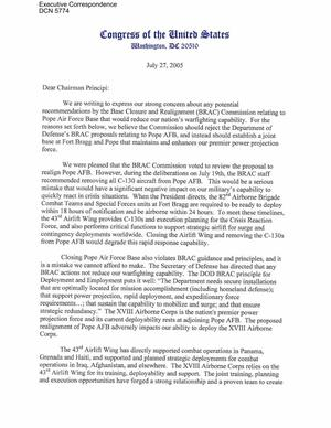 Primary view of object titled 'Executive Correspondence – Letter dtd 07/27/2005 to Chairman Principi from Senators Elizabeth Dole, Richard Burr, and Representatives Bob Etheridge, Robin Hayes, and Mike McIntyre'.