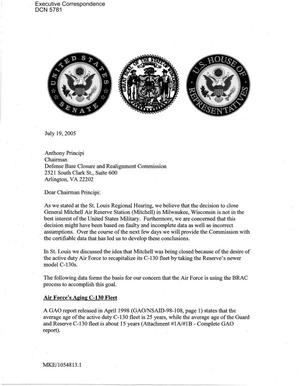 Primary view of object titled 'Executive Correspondence – Letter to Chairman Principi from Jim Doyle, (Gov WI) Senators Herb Kohl and Russ Feingold, Representatives Given Moore and Paul Ryan'.
