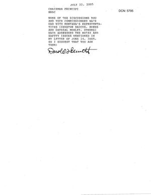 Primary view of object titled 'Letter from Darold L. Bennett in response to the recommendation regarding Great Falls International Airport Air Guard Station'.