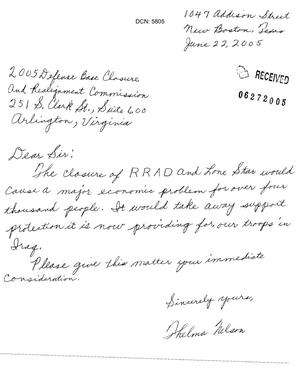 Primary view of object titled '[Letter from Thelma Nelson to the BRAC - June 22, 2005]'.