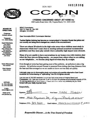 Primary view of Letter from a concerned citizen in response to the recommendation regarding Naval Air Station Oceana