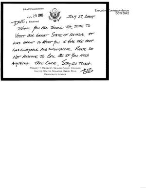 Primary view of object titled 'Executive Correspondence – Letter dtd 07/22/2005 Commissioner Hansen from Frank Pallone'.