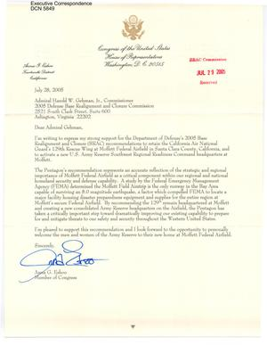 Primary view of object titled 'Executive Correspondence – Letter dtd 07/28/2005  to Commissioners Gehman, Newton, and Skinner from Anna Eshoo'.