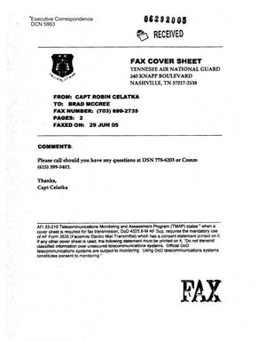 Primary view of object titled 'Executive Correspondence – Letter dtd 06/29/2005 to Brad McCree from Capt Robin Celatka'.