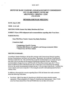 Primary view of object titled '[Memorandum of Meeting: Dyess Air Force Base, Texas, June 9, 2005]'.