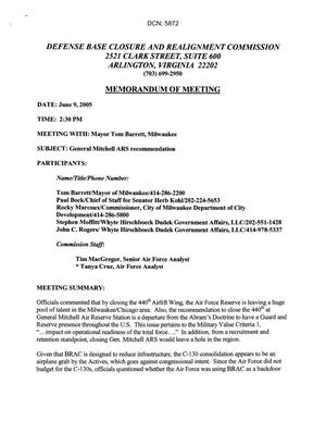 Primary view of object titled '[Memorandum of Meeting: General Mitchell International Airport Air Reserve Station, Wisconsin, June 9, 2005]'.