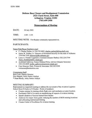 Primary view of object titled '[Memorandum of Meeting: Fort Rucker, Alabama, July 28, 2005, Part 1]'.
