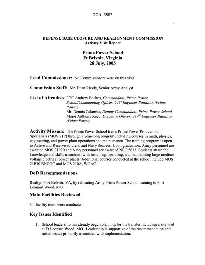 Activity Visit Trip Report - Ft. Belvoir - Prime Power School - VA ...
