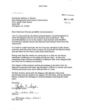 25 Letters from concerned citizens regarding Niagara Falls Air Force Reserve and Guard Base