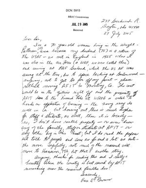 Primary view of object titled 'Letter from a concerned citizen regarding WPAFB'.