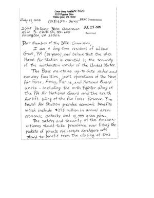 Primary view of object titled '[Letters from Penny Aronson and Robert Armstrong to the BRAC Commission - July 2005]'.