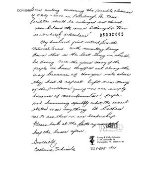 Primary view of object titled 'Community Correspondence  -   Individual letters from Concerned Citizens - 911th -Pittsburgh PA'.