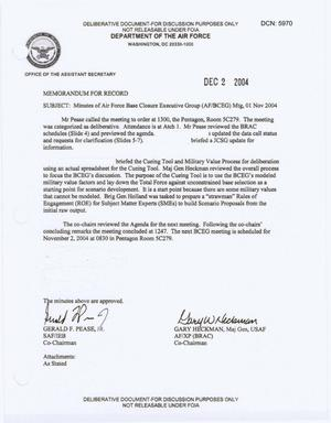 Primary view of object titled 'Air Force - November 1, 2004 - Minutes of Air Force Base Closure Executive Group (AF/BCEG) Meeting'.