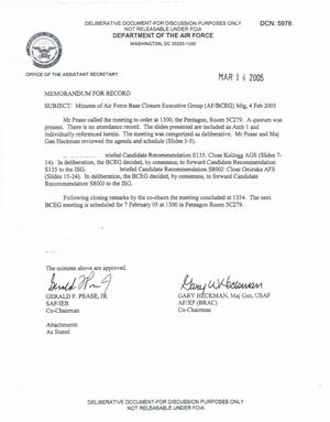 Primary view of object titled 'Air Force - February 4, 2005 - Minutes of Air Force Base Closure Executive Group (AF/BCEG) Meeting'.