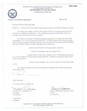 Primary view of object titled 'Air Force - February 6, 2004 - Minutes of Air Force Base Closure Executive Group (AF/BCEG) Meeting'.