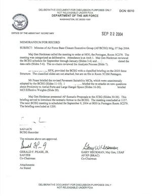 Primary view of object titled 'Air Force - September 7, 2004 - Minutes of Air Force Base Closure Executive Group (AF/BCEG) Meeting'.