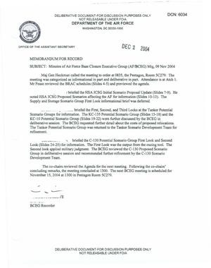 Primary view of object titled 'Air Force - November 9, 2004 - Minutes of Air Force Base Closure Executive Group (AF/BCEG) Meeting'.