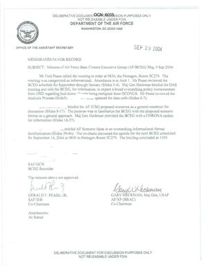 Primary view of object titled 'Air Force - September 9, 2004 - Minutes of Air Force Base Closure Executive Group (AF/BCEG) Meeting'.