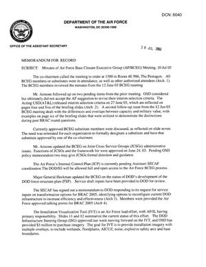 Primary view of object titled 'Air Force - July 10, 2003 - Minutes of Air Force Base Closure Executive Group (AF/BCEG) Meeting'.