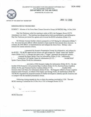 Primary view of object titled 'Air Force - December 14, 2004 - Minutes of Air Force Base Closure Executive Group (AF/BCEG) Meeting'.