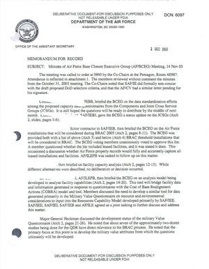 Primary view of object titled 'Air Force - November 14, 2003 - Minutes of Air Force Base Closure Executive Group (AF/BCEG) Meeting'.