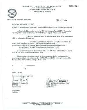 Primary view of object titled 'Air Force - November 15, 2004 - Minutes of Air Force Base Closure Executive Group (AF/BCEG) Meeting'.
