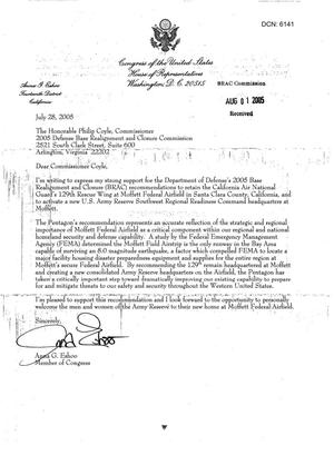 Primary view of object titled 'Executive Correspondence - From Congress Member Anna G. Eshoo, To Commissioner Coyle'.