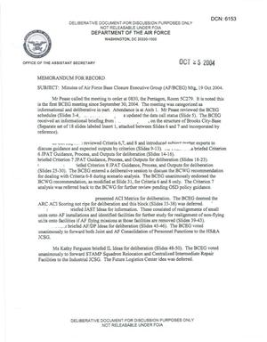 Primary view of object titled 'Air Force - October 19, 2004 - Minutes of Air Force Base Closure Executive Group (AF/BCEG) Meeting'.