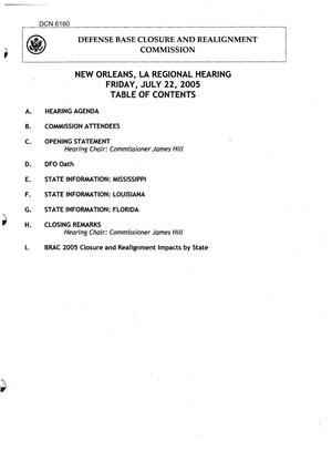 Primary view of object titled 'BRAC New Orleans Louisiana Regional Hearing Book Dated 22 July 2005'.