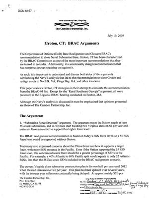 Primary view of object titled 'Community Input - Navy - Submarine Base New London CT - Groton CT BRAC Arguments'.