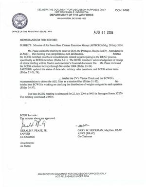 Primary view of object titled 'Air Force - July 20, 2004 - Minutes of Air Force Base Closure Executive Group (AF/BCEG) Meeting'.