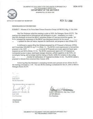 Primary view of object titled 'Air Force - October 21, 2004 - Minutes of Air Force Base Closure Executive Group (AF/BCEG) Meeting'.