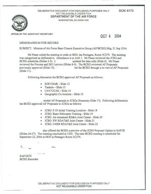Primary view of object titled 'Air Force - September 21, 2004 - Minutes of Air Force Base Closure Executive Group (AF/BCEG) Meeting'.