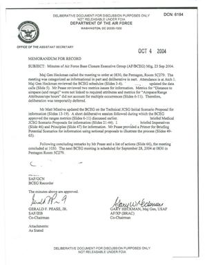 Primary view of object titled 'Air Force - September 23, 2004- Minutes of Air Force Base Closure Executive Group (AF/BCEG) Meeting'.