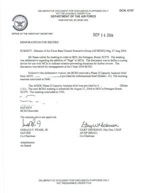 Primary view of object titled 'Air Force - August 27, 2004 - Minutes of Air Force Base Closure Executive Group (AF/BCEG) Meeting'.