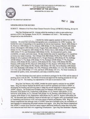 Primary view of object titled 'Air Force - April 28, 2004 - Minutes of Air Force Base Closure Executive Group (AF/BCEG) Meeting'.