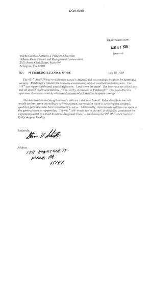 Primary view of object titled 'Individual letter from concerned citizens near Pittsburgh International Airport Reserve Station.'.