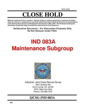 Primary view of object titled 'Candidate Recommendation IND #0083A - Attachment to March 10 Infrastructure Executive Council Meeting'.
