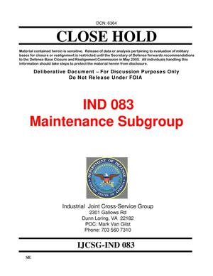 Primary view of object titled 'Candidate Recommendation IND #0083B - Attachment to March 10 Infrastructure Executive Council Meeting'.