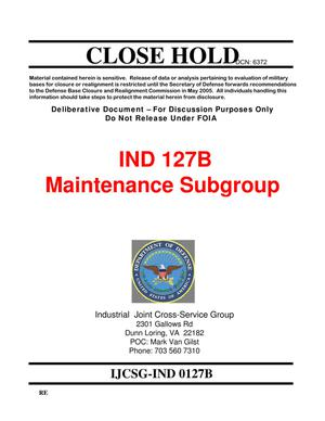 Primary view of object titled 'Candidate Recommendation IND #0127B - Attachment to March 10 Infrastructure Executive Council Meeting'.
