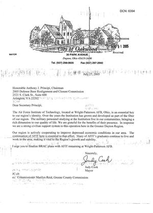 Primary view of object titled 'Executive Correspondence - From Mayor Judy Cook To Chairman Principi'.
