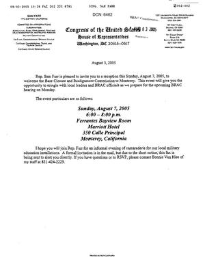 Primary view of object titled 'Letter from Congressman Sam Farr to the BRAC Commission dtd 3 August 2005'.
